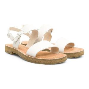 Camper Pimpom Leather Sandals White 10